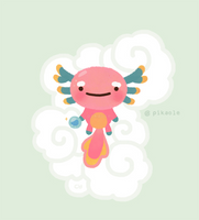 Axolotl with magic pearl by pikaole