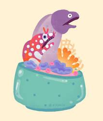 Eel flower pot 2 by pikaole