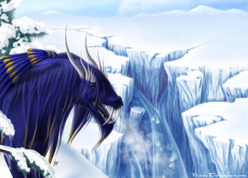 The Ice Gorge - Dragon Art by Nixity