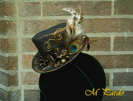 Gold and bronze steampunk mini top hat by arcticorset