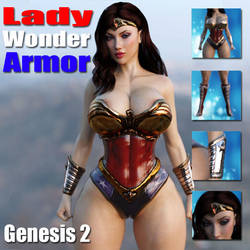 Lady Wonder Armor for Genesis 2 Female by guhzcoituz