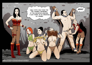 Defeated warlord's concubines for sale as slaves by Slaverycomics