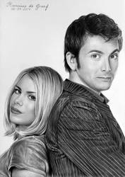 Tenth Doctor and Rose Tyler by kansineedegraefart