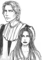 Anakin and Padme sketch by Loviniainivol
