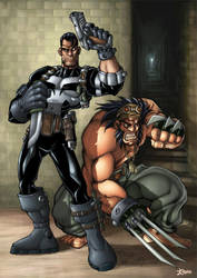 Wolvie and Punisher by -seed-