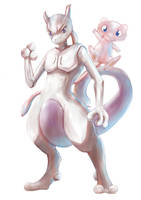 Pokemon Mewtwo and Mew by Advent-Hawk