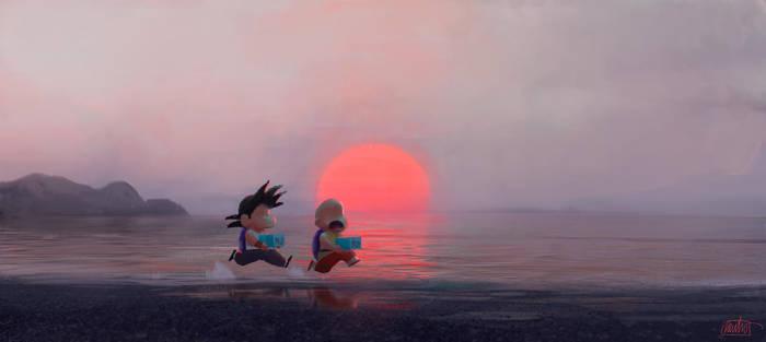 Goku Krillin by nachomolina