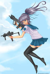 Girl with guns by Silent-fly