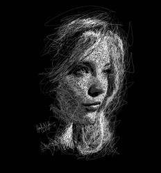 Girl Scribble BlackWhite 14 portrait by hasenur