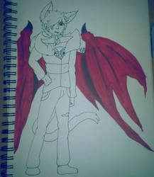 drawig the demon boy  by JeffZeKillah