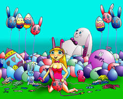 Easter Bunny-Girl Cleanup Agai by PonFuusen