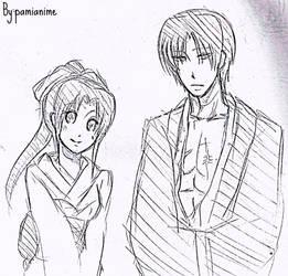 Aoshi and Kaoru by Pamianime