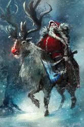 Barbarian Santa by conorburkeart