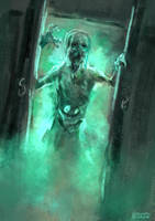 Ghost in the wardrobe by conorburkeart
