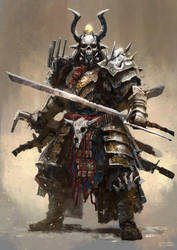 Post Apocalyptic Samurai by conorburkeart