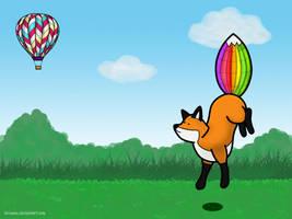Stupidfox and balloon by fariaana