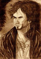 Damon as a warlock by 0xElenax0