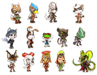 Star Fox Chibis (Extended) by Geo-Dragon