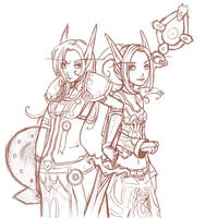 be paladin and priest - sketch by szienna