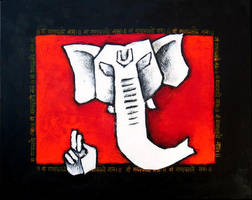 Ganesha Red White and Black by vishalmisra