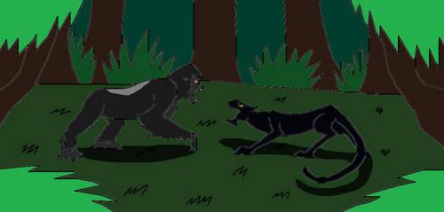Silverback Gorilla vs Black Panther by Syfyman2XXX