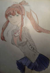 Monika drawing (Doki doki literature club) by DrBlagueur