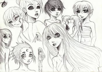Sketches: Random OCs by Kagome-Miko-207