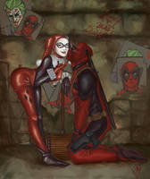 Lets Kill Tonight Harley Quinn and Deadpool by PixelatedLocket