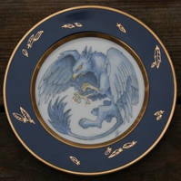 Blue and Gold Griffin Plate by SandySchreiber