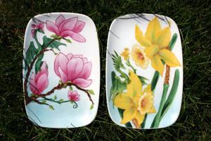 Garden Dragons, Magnolia and Daffodil by SandySchreiber