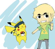 pikachu and toon link by pi-ka