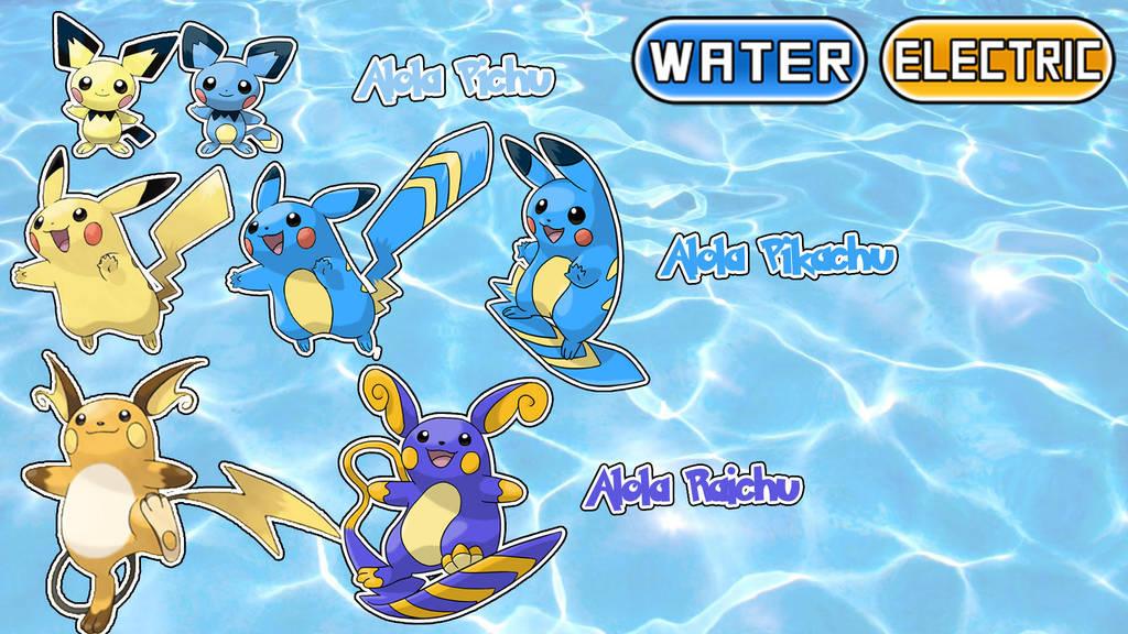 Alola Form Water Electric Pikachu Pichu Raichu By Dibujos Para