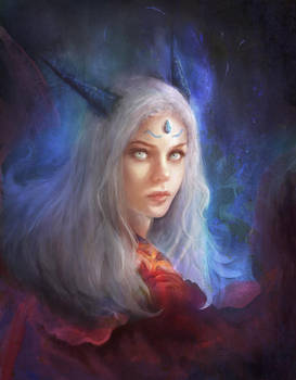 White hair princess by Lesvaria