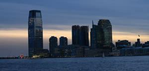 Jersey City Skyline at Sunset by ChrisBeckerArt