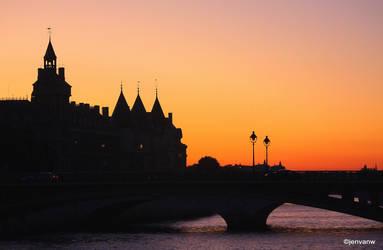 River Seine on Sunset by Jenvanw