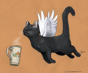Pumpkin Spice Caffeine Cat by RobtheDoodler