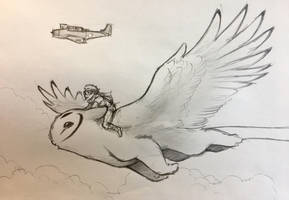 Owl griffin flight by RobtheDoodler