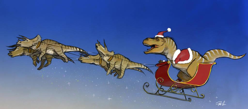 Santausaurus Rex by RobtheDoodler