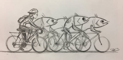School of cyclists by RobtheDoodler