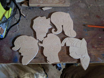 Mlp wood art badges by ArtsyFilmer