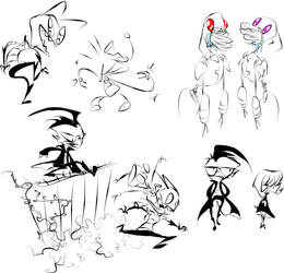 Invader Zim doodles by tietto
