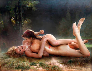 messy cuddles by William-Adolphe Bouguereau v2 by FueledbypartII