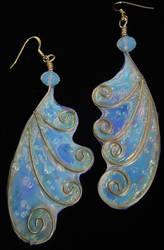 Moonstone Fairy Wing Earrings by Ravenwolfslayer