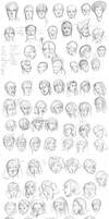 Faces Training Sketch Dump by vandalk