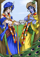 Lord Sri Krsna and Sri Balarama Anime style by nairarun15