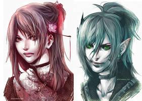 .Good'n Evil face. by sakimichan