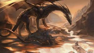 The Black Dragon. by sakimichan