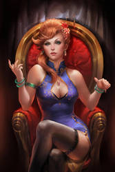 Mafia Lady. Old painting. by sakimichan