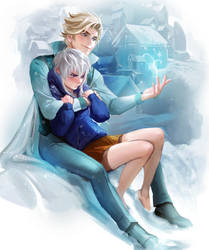Snowy couple by sakimichan