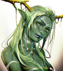 Green elf by sakimichan